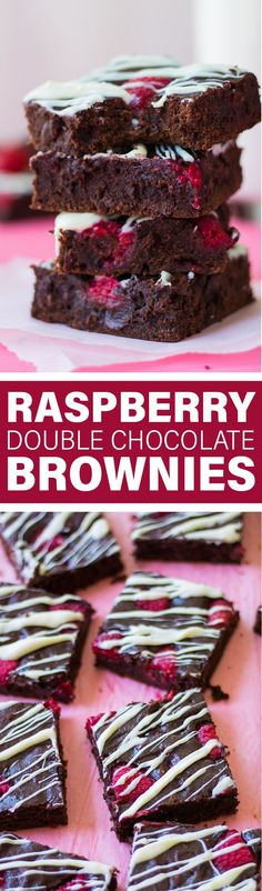 Raspberry Double Chocolate Brownies | Dense and chewy chocolate brownies with raspberries and white chocolate drizzle.