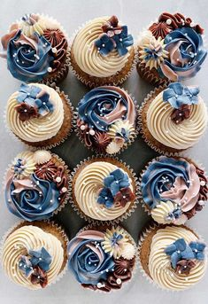 These pretty cupcake ideas will make your wedding, birthday , holiday season or any celebration even sweeter. Whether you prefer coffee cupcakes, chocolate cupcakes, vanilla cupcakes or If. Cupcakes Design, Cupcake Cake Designs, Fancy Cupcakes, Pretty Cupcakes, Beautiful Cupcakes, Birthday Cupcakes, Cupcake Cookies, Elegant Cupcakes, Cupcake Ideas Birthday