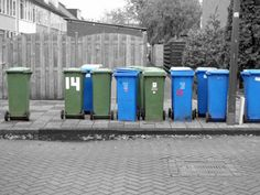(c) CYM 2010 - An example of color isolation with trash bins on the streets of the Netherlands.