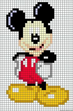 Discover thousands of images about also could use for cross stitch too.Mickey Mouse perler bead pattern by alissa Hama Beads Patterns, Loom Patterns, Beading Patterns, Beaded Cross Stitch, Cross Stitch Embroidery, Cross Stitch Patterns, Perler Bead Art, Perler Beads, Pixel Art Mickey