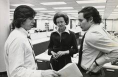 "Katharine Graham, publisher of the Washington Post for three decades: here with reporters Carl Bernstein, left, and Bob Woodward in 1972. She put Ben Bradlee in charge and gave him ""remarkable freedom in the newsroom"". (Copyright Mark Godfrey. Estate of Katharine Graham)"