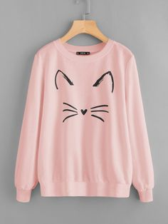 To find out about the Cartoon Cat Print Sweatshirt at SHEIN, part of our latest Sweatshirts ready to shop online today! Women's Dresses, Dress Outfits, Cute Outfits, Trendy Outfits, Teen Fashion, Fashion Outfits, Fashion Black, Pink Fashion, Fashion Fashion