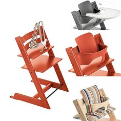 Stokke Tripp Trapp Chair w Baby Set, Stokke Tray & Signature Stripe Cushion (Lava Orange)