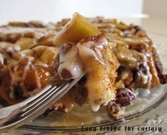 Upside-Down Cinnamon Apple Coffee Cake Recipe ~ Nice and gooey with plenty of pecans and apples
