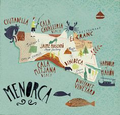 Menorca Illustrated Map Art Print by Gary Venn - X-Small Travel Maps, Places To Travel, Travel Photos, Travel Drawing, Travel Illustration, Balearic Islands, Map Design, City Maps, Spain