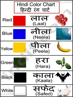 Here is a chart showing different colors, from English to Hindi. Notice how this pin also included examples of each color with plants, animals, and other objects. Learn English Grammar, Learn English Words, Vocabulary Words, English Vocabulary, Colours In Hindi, Gender Chart, Hindi Alphabet, Alphabet Charts, Alphabet Worksheets