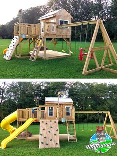 The playground playhouse plan. This specific one is slightly modified and built . The playground p Kids Outdoor Play, Kids Play Area, Backyard For Kids, Outdoor Playsets For Kids, Outdoor Jungle Gym, Play Area Outside, Outdoor Swing Sets, Backyard Swing Sets, Room Kids