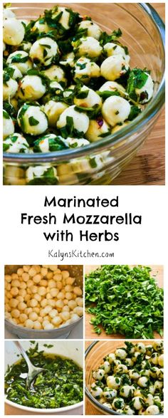 Marinated Fresh Mozzarella with Herbs is a perfect low-carb and gluten-free appetizer or salad for summer holiday parties!  I love fresh herbs in summer, and this is a tasty way to use a lot of them! [from KalynsKitchen.com]