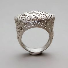 Sterling Silver Lace Ring Round Lace Ring di toolisjewelry
