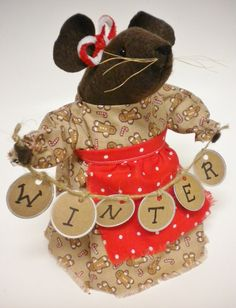 Mouse with Winter Tag Garland Primitive by PearcesCraftShop