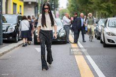Gilda Ambrosio during Milan Fashion Week Spring/Summer 16 on September 27, 2015 in Milan, Italy.
