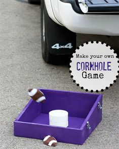 Here's how to make a cornhole game- these are so popular here in the midwest!