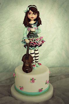 Music girl. Pretty Cakes, Beautiful Cakes, Amazing Cakes, Fondant Cakes, Cupcake Cakes, Apple Cake Pops, Fondant People, Fondant Animals, Fondant Tutorial