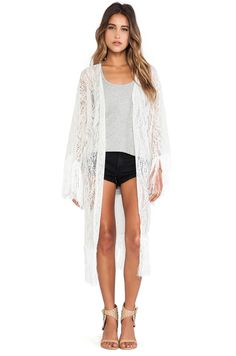 Shop for LENNI Luella Lace Kimono in Cream at REVOLVE. Lace Kimono, Lace Tunic, Lace Dress, Kimono Top, Designer Leather Jackets, Designer Jackets, Summer Outfits, Cute Outfits, Summer Clothes