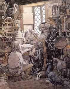 """Above: Alan Lee's illustration for the """"Sword in the Stone"""" section of  The Once and Future King;"""