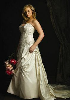 New Satin Sweetheart A line Empire Plus Size Cathedral Train Wedding Dresses - Lunadress.co.uk