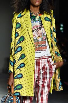 Stella Jean Spring 2015. Ankara. Wax Print. Kitenge. African Prints in Fashion. Fabrics. Peacoat. Day Coat.