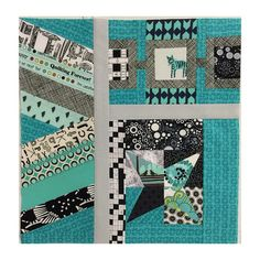 Instagram jessicaquilter Aqua, black, and white.  #patchworkcity #patchworkcityqal #sewmystash2015 #quilting #quiltfabric