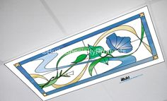Fluorescent light covers –Marbled – blue flower white backgroung | Build Specialty Products