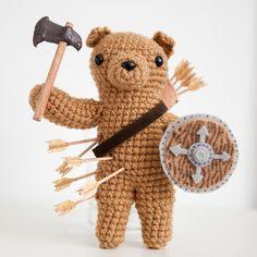 Amigurumi Crochet Battle Bear, made for Olan Rogers!   thebhivecreations.com