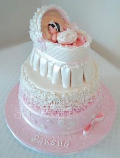 Baby Girl Cake Name Trendy Ideas Girl Shower Cake, Torta Baby Shower, Baby Bump Cakes, Baby Girl Cakes, Kid Cupcakes, Cupcake Cakes, 3d Cakes, Fondant Cakes, Naming Ceremony Decoration