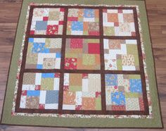 Floating nine patch made with 2 charm packs....this was my daughters first quilt top