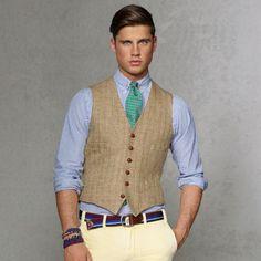 Tan Wool Waistcoat by Polo Ralph Lauren. Buy for $109 from Ralph Lauren