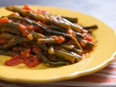 Braised Long Beans With Tomatoes, Garlic, and Mint
