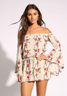 An effortless romper in a lightweight crepe bodice with a floral embroidery all throughout. Features long bell sleeves with an elastic off shoulder top. Partially lined with an elastic waist and flared silhouette. Junior Outfits, Trendy Outfits, Fashion Outfits, Fashion Women, Trendy Shoes, White Romper, Floral Romper, Boutique Tops, Boutique Clothing