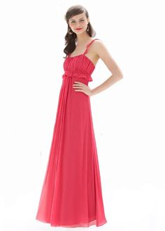 Peony crinkle chiffon ruffle strap Full-length dress with shirred bodice and ruffle at empire with draped skirt.