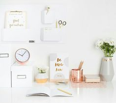 Quote cards from kikki-k. I would love a home office or work desk styled like this.
