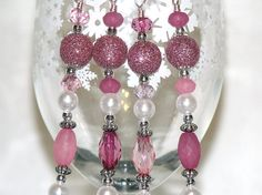 Gorgeous Christmas Ornaments ... Bead Christmas Ornaments  Pink White and Silver by CJKingOriginals!!