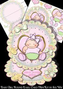 Baby Girl Scalloped Round Easel Card Mini Kit