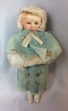 Rare antique original spun cotton girl with muff Christmas ornament with paper face and crepe paper blue overcoat. Some wear. Crepe paper coat has faded. Paper face has dirt and wear. | eBay!