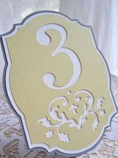 Freestanding Wedding Table Numbers in Grey, yellow and white