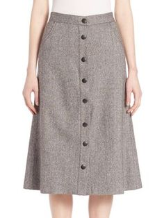 ALICE AND OLIVIA Rhoda A-Line Wool Blend Skirt. #aliceandolivia #cloth #skirt