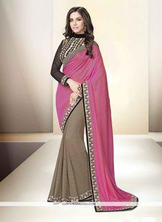 Classy Chiffon Satin Beige and Pink Designer Saree