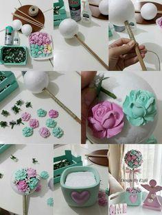 Centro de mesa flores porcelana fria