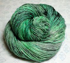 """Kiss My Blarney Stone"" - 100 grams single-ply sock yarn - Greens and Grays by Groovy Hues Fibers"