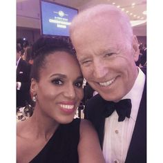 Now that's quite the selfie! Kerry Washington snapped a photo with Vice President Joe Biden as they attended the White House Correspondents' Dinner on April 30, 2016.