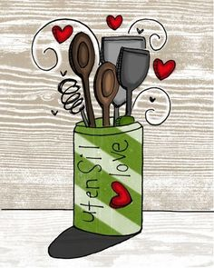 utensil love- i heart kitchen series. $20.00, via Etsy.