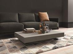 Tavolino design quadrato in metallo l cm con angoli arrotondati