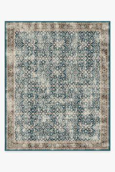 Celestine Teal Blue Rug gives off a celestial vibe with its whimsical floral theme. Designed to look like a lattice panel, this rug features a slim border and a large field of floral vines crawling through a grid-like pattern. Its palette of teal blue and coral orange is slightly distressed to give it a modern vintage feel. Ruggable area rugs are perfect for living rooms, kitchen and outdoor. Our rugs are pet friendly, kid friendly and easy to machine wash. Ruggable - Washable Rug Cover & Pa Sage Green Rug, Coral Rug, Earthy Color Palette, Machine Washable Rugs, Distressed Texture, Classic Rugs, 8x10 Area Rugs, Floral Theme, Farmhouse Rugs