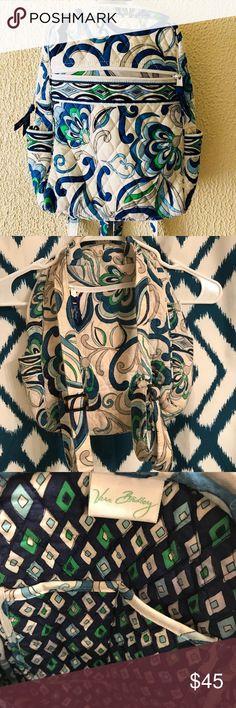 Mediterranean White Vera Bradley Backpack Hardly used Vera Bradley backpack. No damages to fabric. Vera Bradley Bags Backpacks