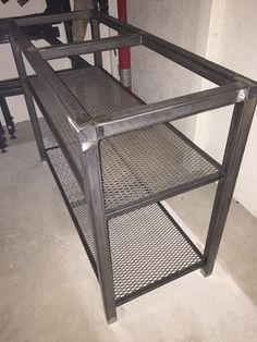 Steel table frame with expanded metal shelves that will hold 100 year old Fir barn wood Welded Furniture, Steel Furniture, Industrial Furniture, Pallet Accent Wall, Industrial Kitchen Design, Loft Kitchen, Expanded Metal, Home Inc, Steel Table
