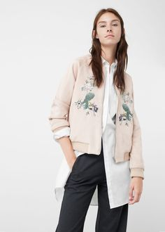 Embroidered bomber - Jackets for Women | MANGO USA