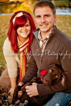 Couples Fall Family Session. ©LiveLaughLuv Photography www.livelaughluvphotography.com Autumn, fall, leaves, dog, lab