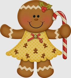 Gingerbread girl with candy cane Gingerbread Christmas Decor, Gingerbread Crafts, Christmas Rock, Gingerbread Man, Christmas Projects, Christmas Cookies, Christmas Time, Christmas Decorations, Christmas Ornaments
