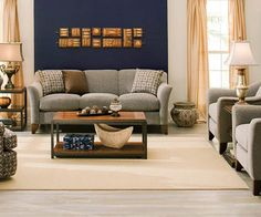 Stylish Living Room Collections From Raymour Flanigan Navy Accent Walls WallsBlue