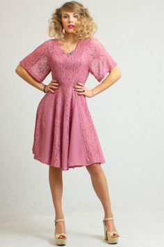 Ultra feminine powder pink vintage dress with laced top and georgette + lace skirt.